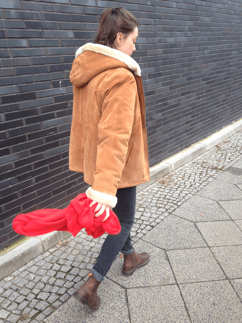 vintage mantel wildleder