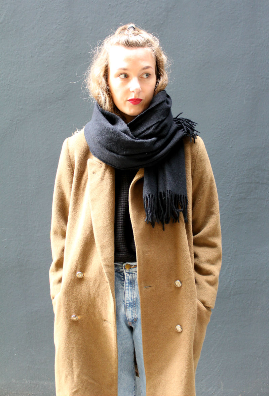 Senfgelber Vintage Mantel (2)