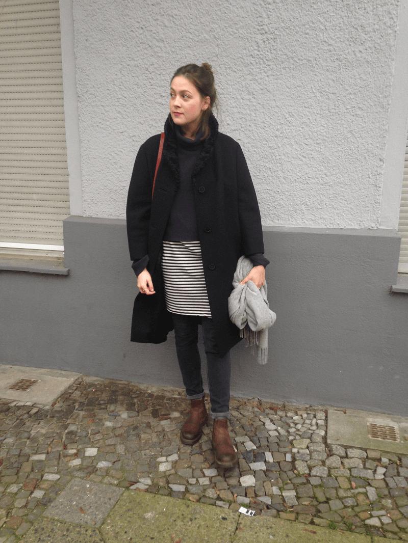 outfit winter streifen