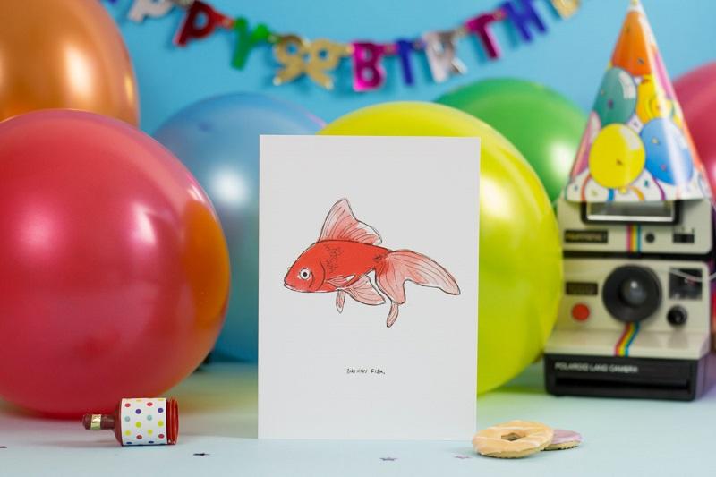 grußkarte goldfisch