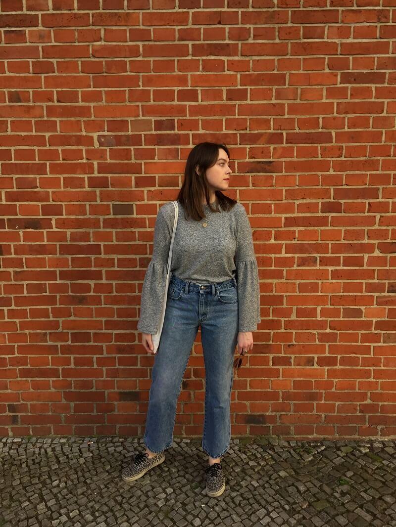 Outfit Vintage Jeans Leo Vans u0026 Pulli mit Trompetenu00e4rmeln
