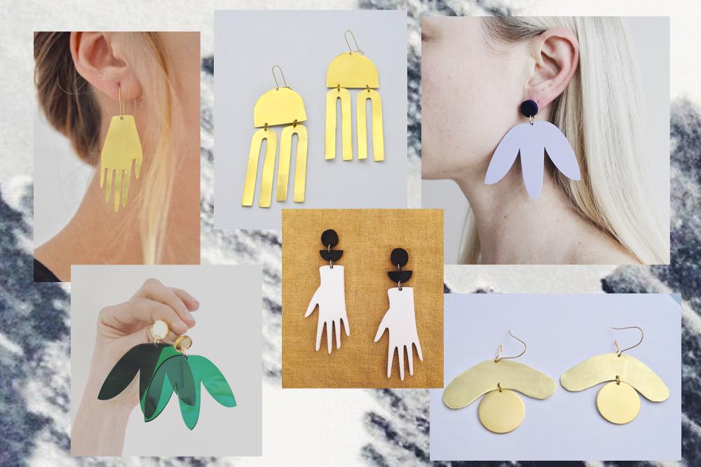 Ohrringe in abstrakten Formen à la Matisse
